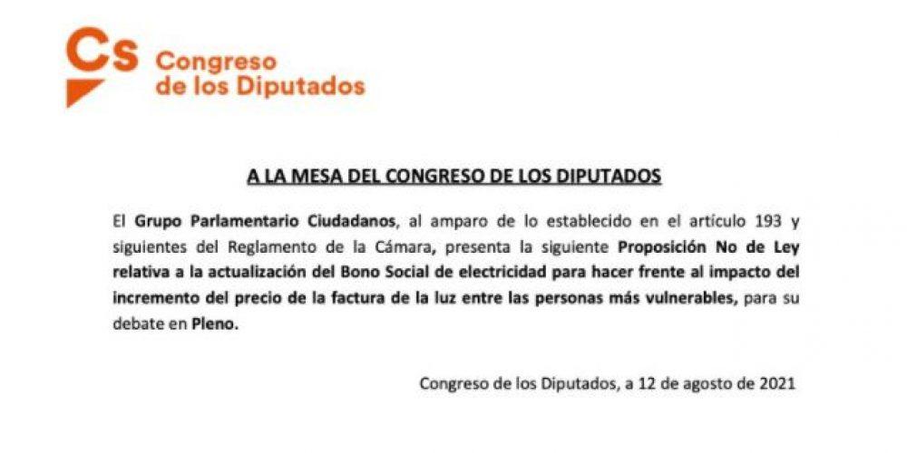 Cs registra en el Congreso una iniciativa para hacer del Bono Social Eléctrico